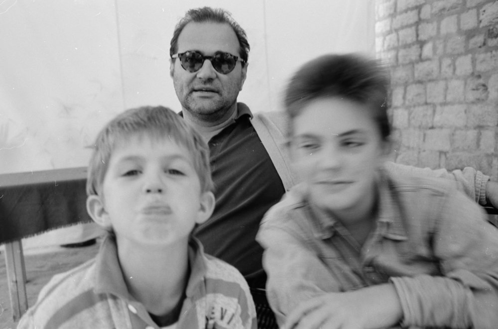 Kocherscheidt and his two sons Ivo and August, 1986. Photo: Elfie Semotan