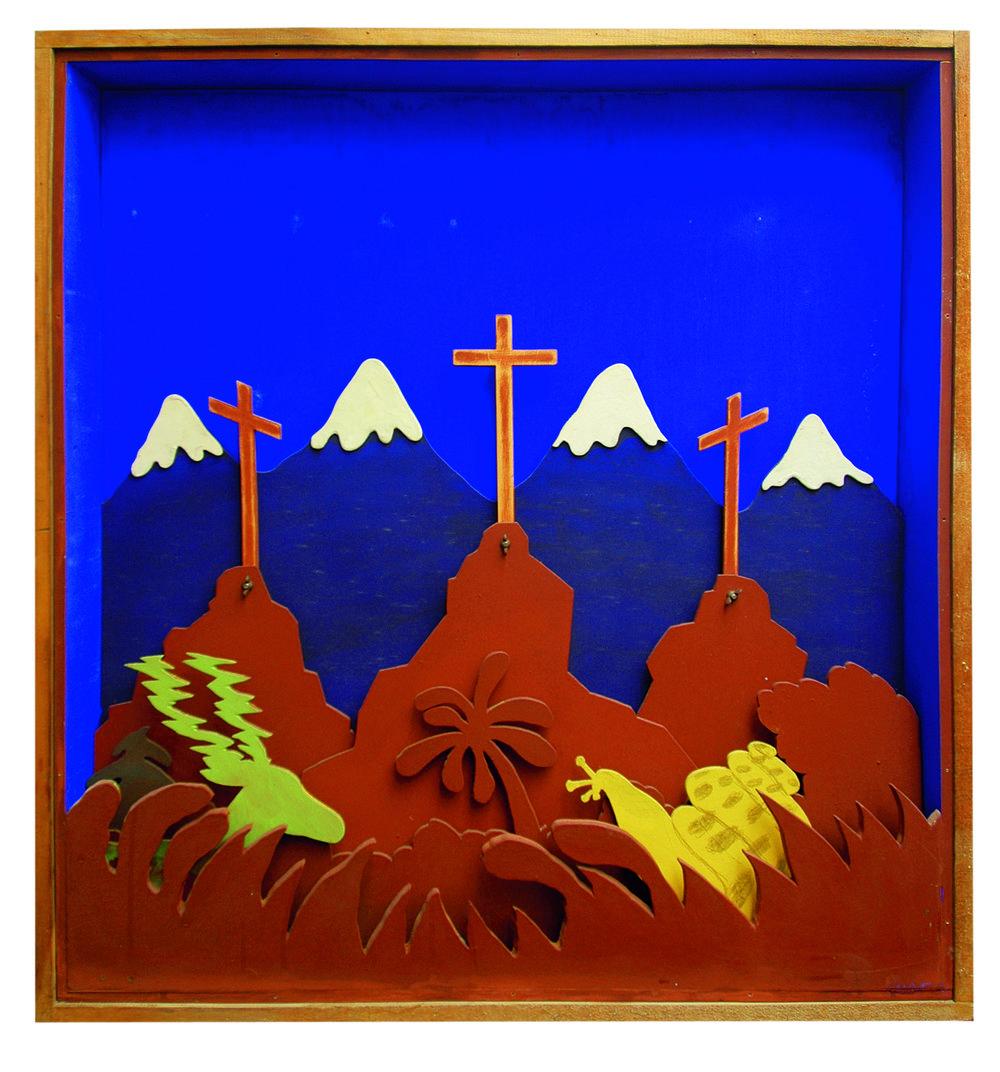 3 Kreuze im Gebirge , 1970, Acrylic on plywood, 42.91h x 38.77w x 6.69d in (109h x 98.5w x 17d cm)