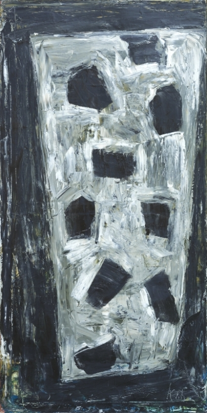 Neun im Keil , 1986, Oil on canvas, 78.74h x 39.37w in (200h x 100w cm)