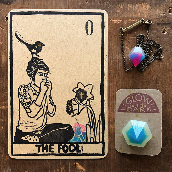 made by wam The Fool Tarot card and glow in the dark jewelry