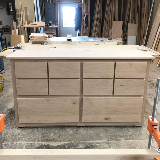 Alder wood office console and printer table, ready for stain. Let's go! 🎨👩🏻🎨