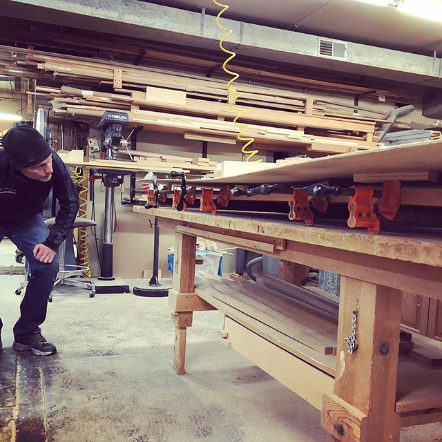 Peeking in on a cherry tabletop glue-up. Hanging out and drying nicely on the sidelines.