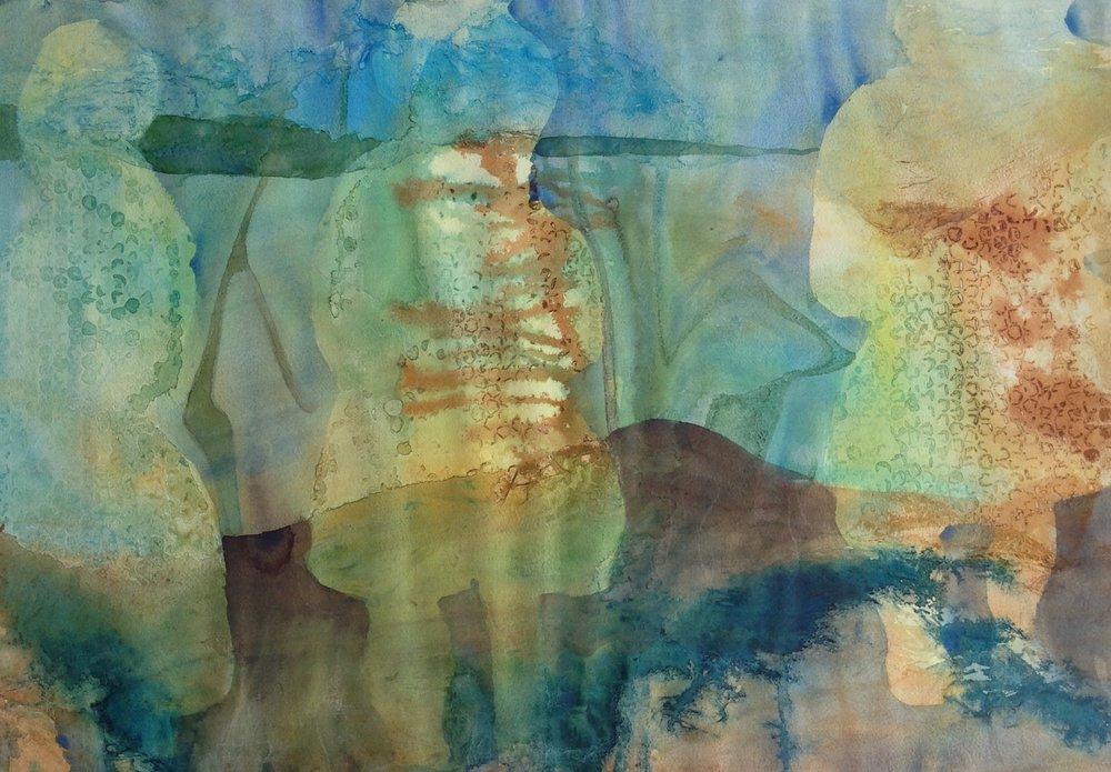 "Spirits Of The Grandmas Watercolour - 30""x22"" For Sale - $400"