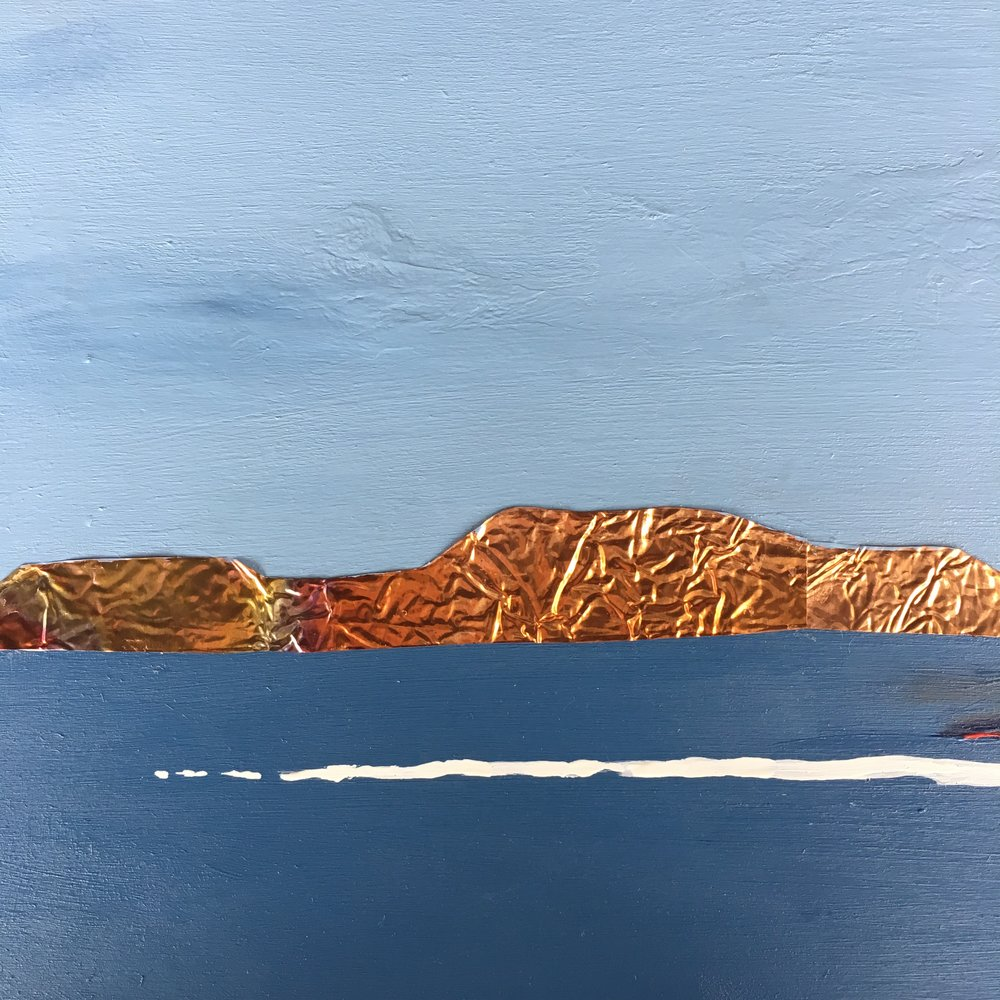"Sleeping Giant 1 Acrylic and copper on wood panel - 20""x20"" For Sale - $250"