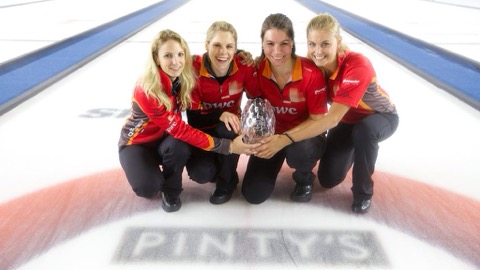 The girls after winning their first grad slam title in 2015.