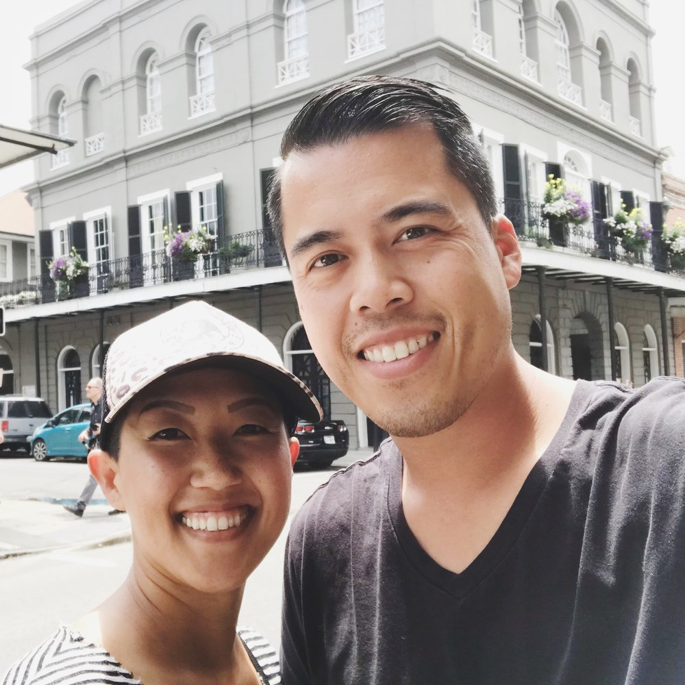 Visiting the French Quarter in New Orleans. The house behind us is the infamous  LaLaurie Mansion .