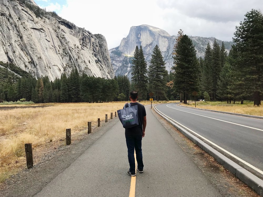 Walking back to camp after grocery shopping at the Yosemite Village store which is pretty well stocked.
