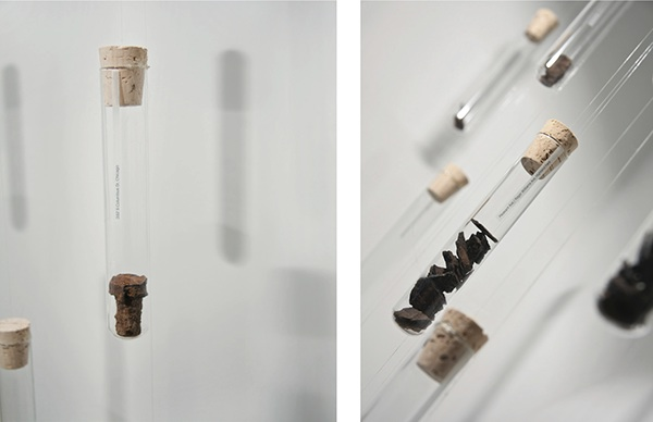 [IN] Time Installation  This room installation cataloged 400 test tubes of rust marked with the exact location they were collected from. Suspended like a curtain, each piece was a metaphor & physical manifestation of time.