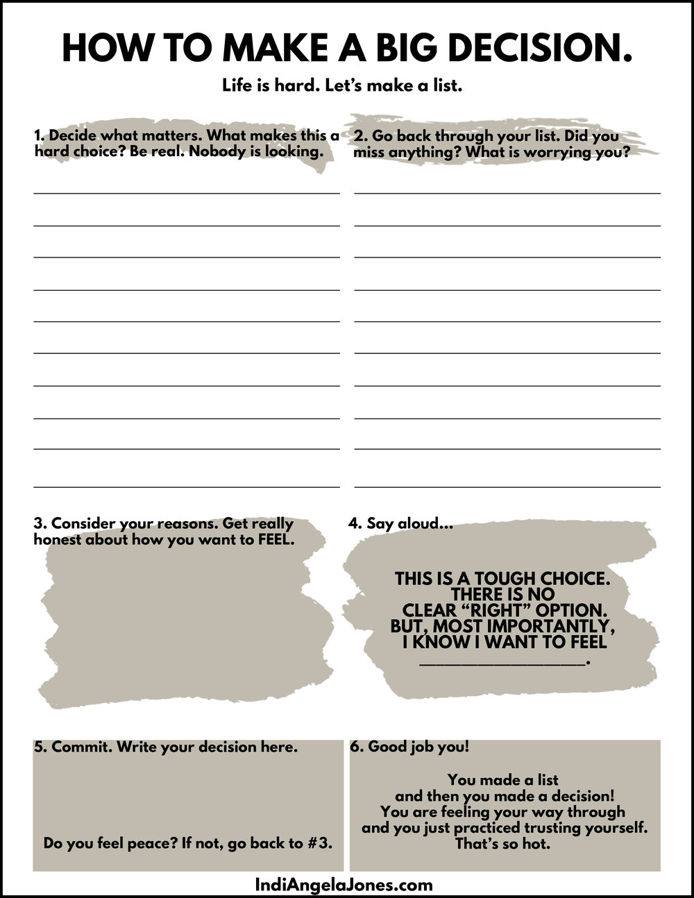 how to make a decision worksheet