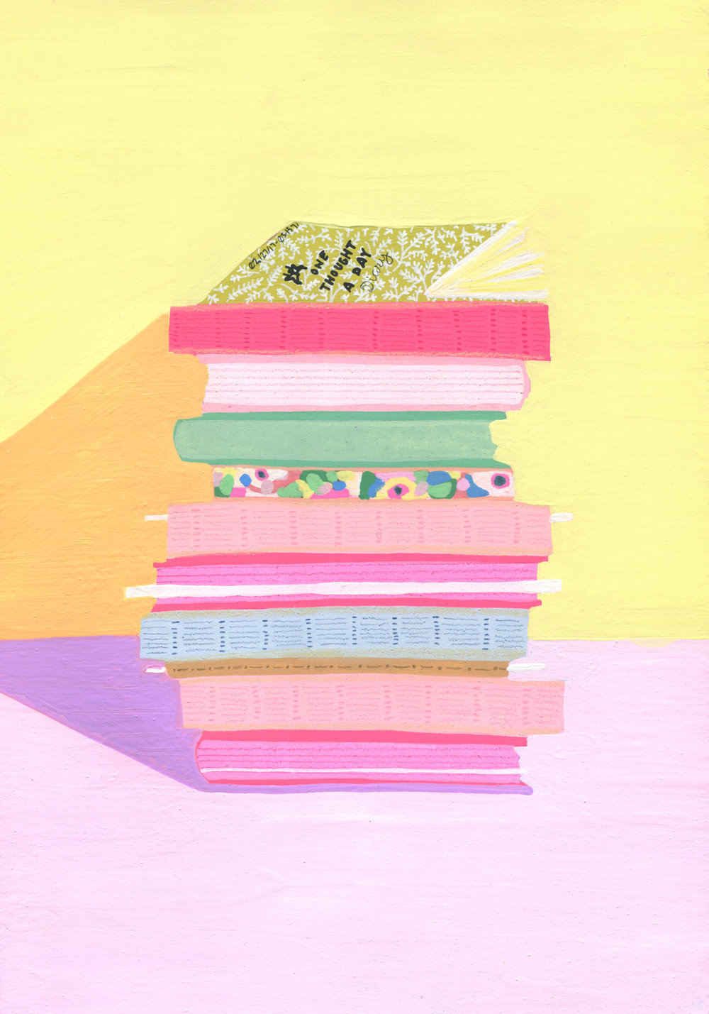 A painting that I made of my growing pile of journals.