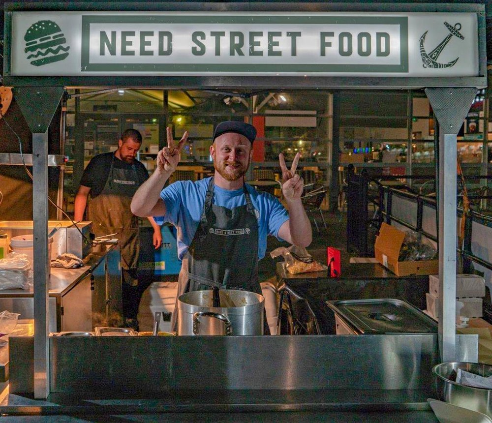 Pete on the Need Street Food cart at WarriorFest 2018 ( picture by Solent Sky Services )