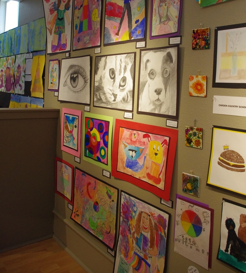 Elementary student art from our 2016 Student Art Show. Gallery photo.