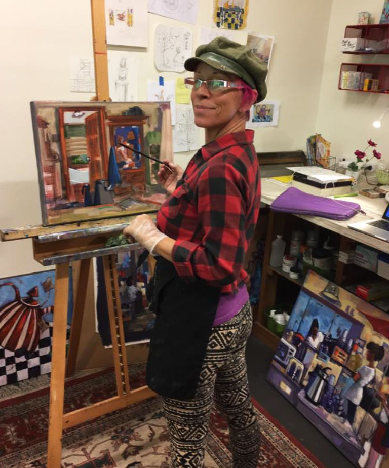 Amy D'Apice painting sketch studio
