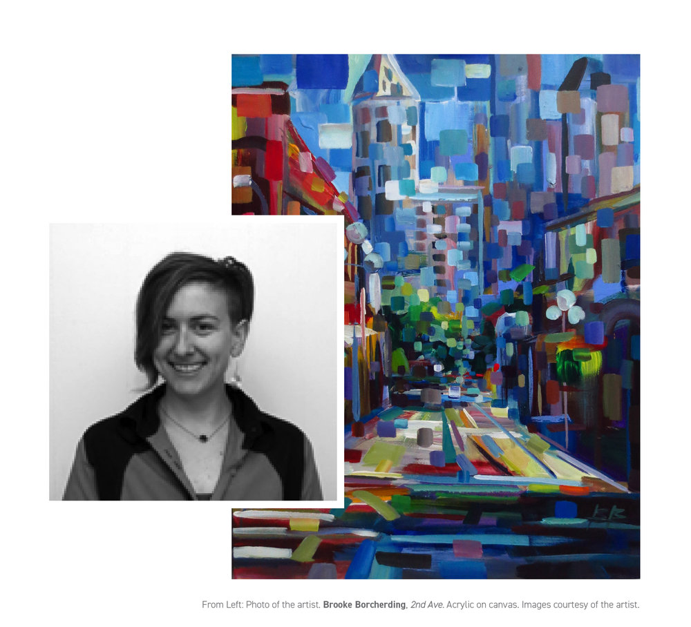 From left: Photo of artist.  Brooke Borcherding ,  2nd Ave . Acrylic on canvas. Images courtesy of the artist.