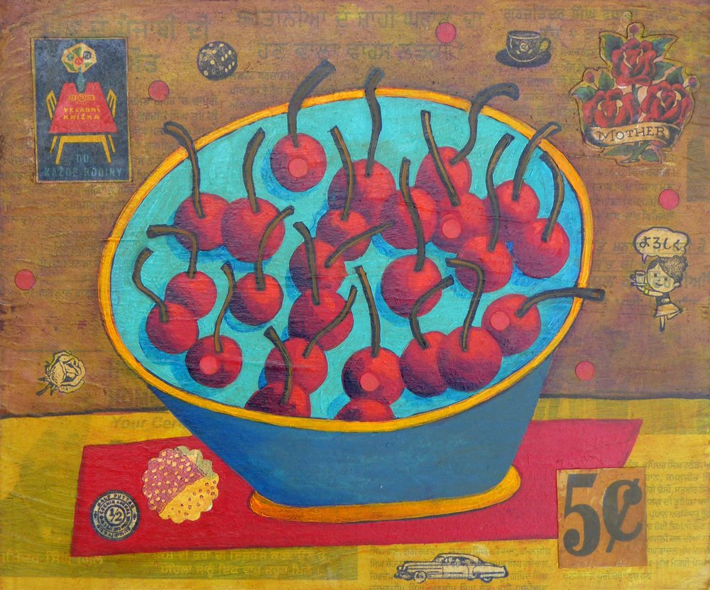 Max Grover,  Bowl of Red Cherries . Mixed media. Image courtesy of the artist.