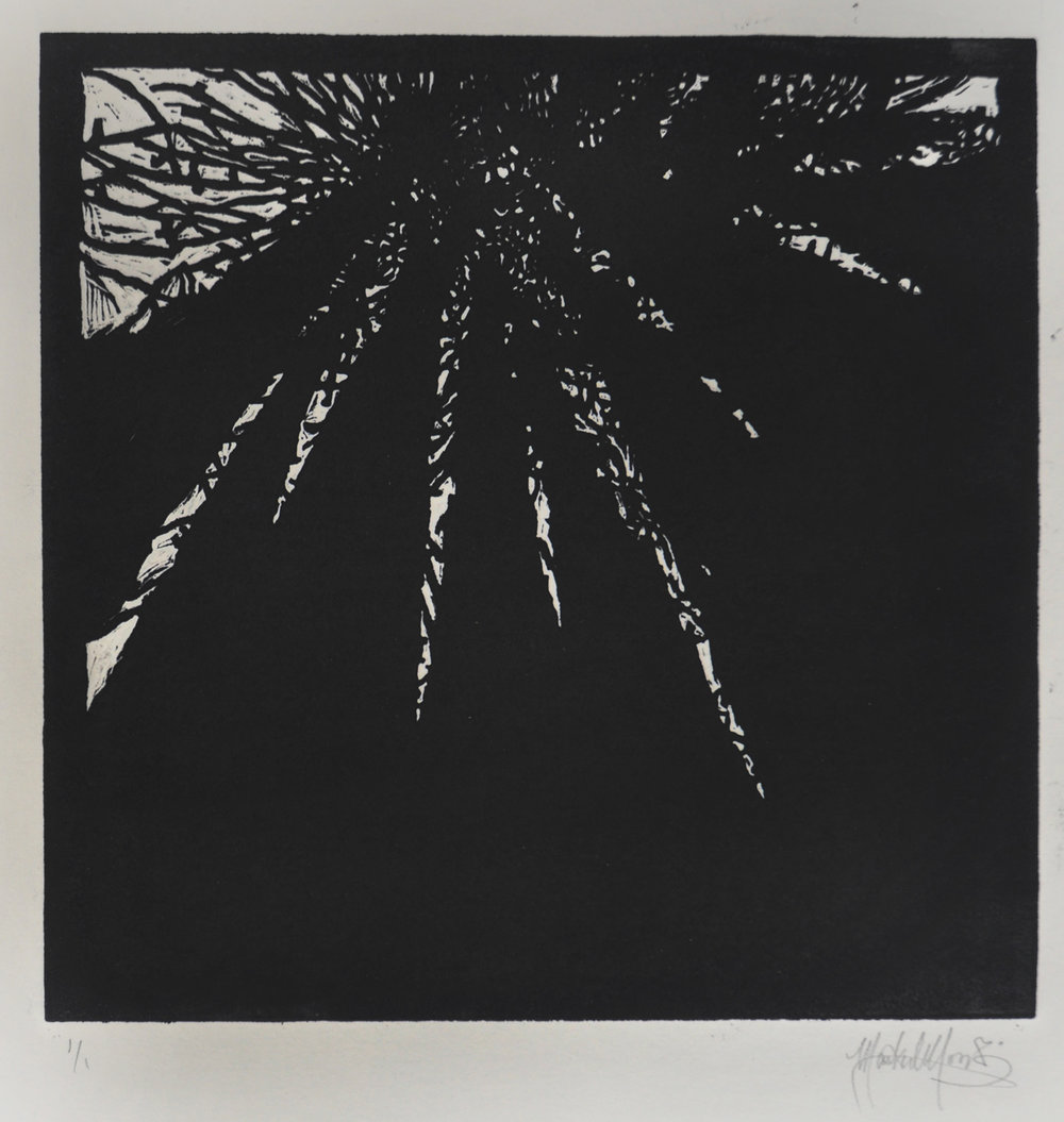 Mark Moody, The Light Above, linocut print.