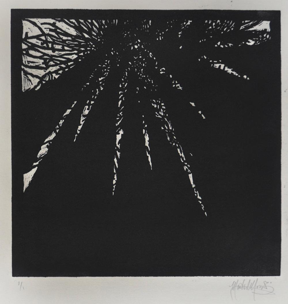 Mark Moody, The Light Above, linocut print.