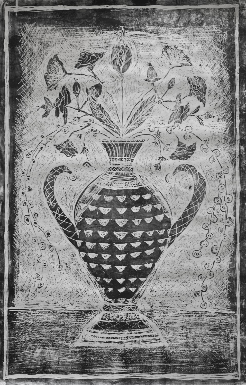 Janet Sanders,  Vase with Flowers , woodcut print.