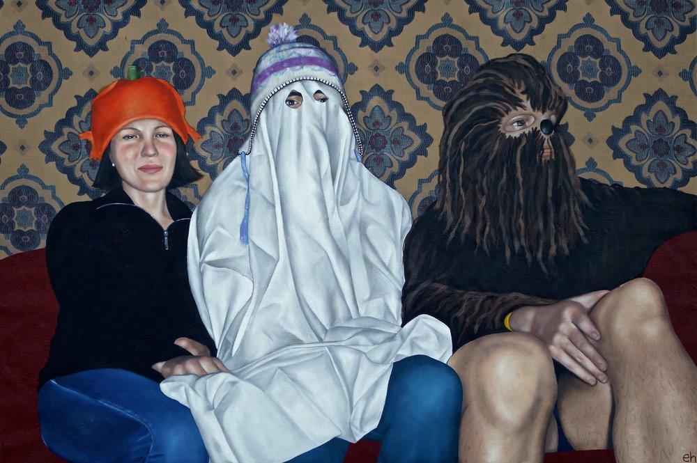 Erin Haldane,  Wallflowers , oil on fabric.