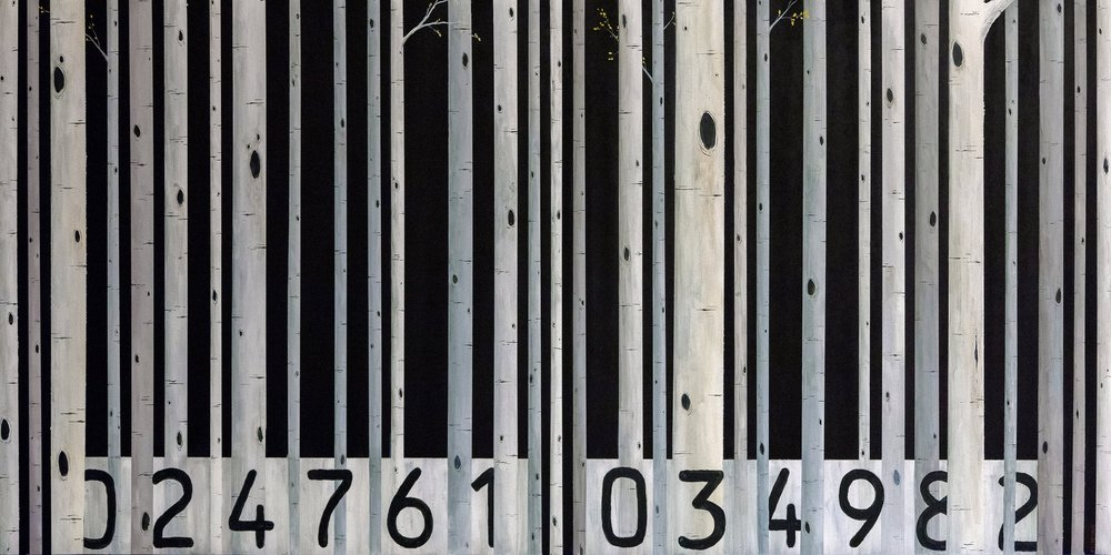 Scott Filipiak,  Barcode. Acrylic on panel.