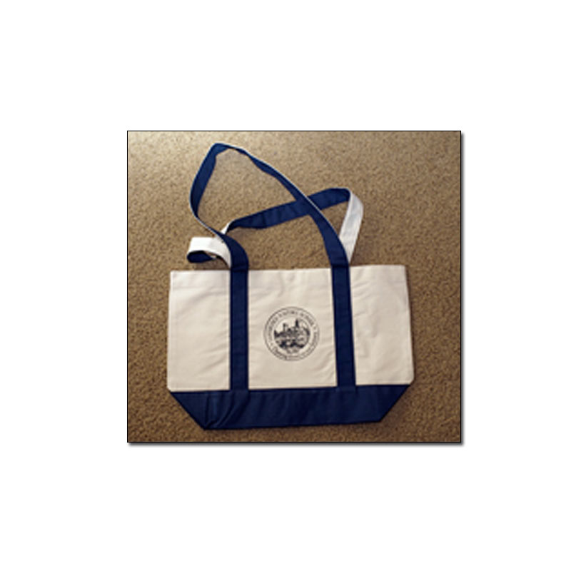 "Cambridge Historic School Tote Bag   Canvas with navy blue trim 20"" (w) x 13"" (h) x 6"" (d)   $20.00 + shipping and handling"