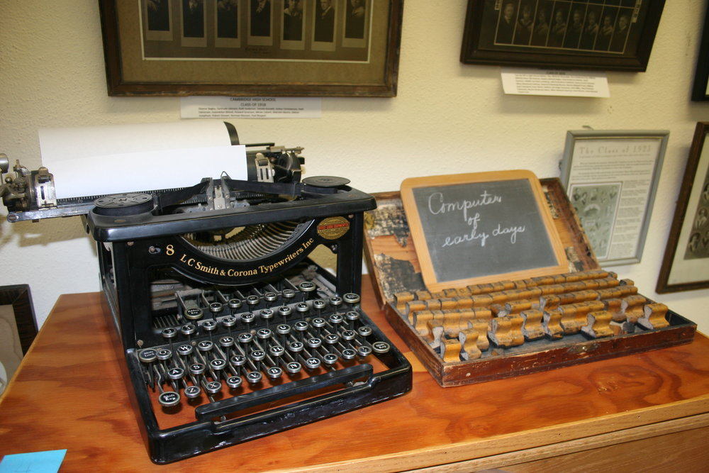 Typewriters and wooden type were tech devices in the BC years, (Before Computers).