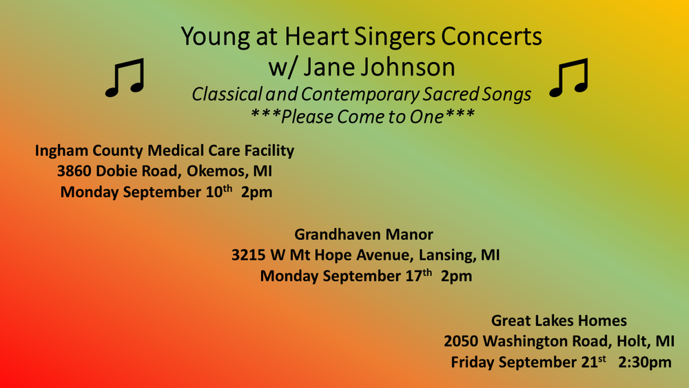 September dates for the Young at Heart Singers concerts.