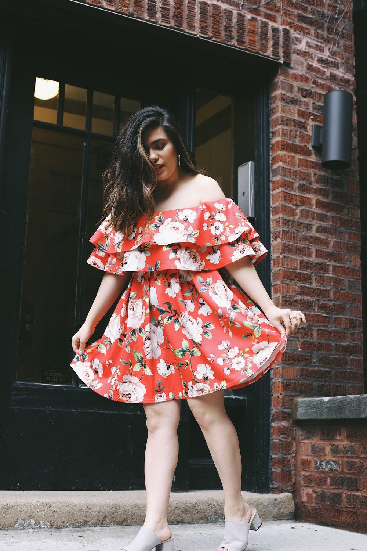 Asos off the shoulder red floral dress