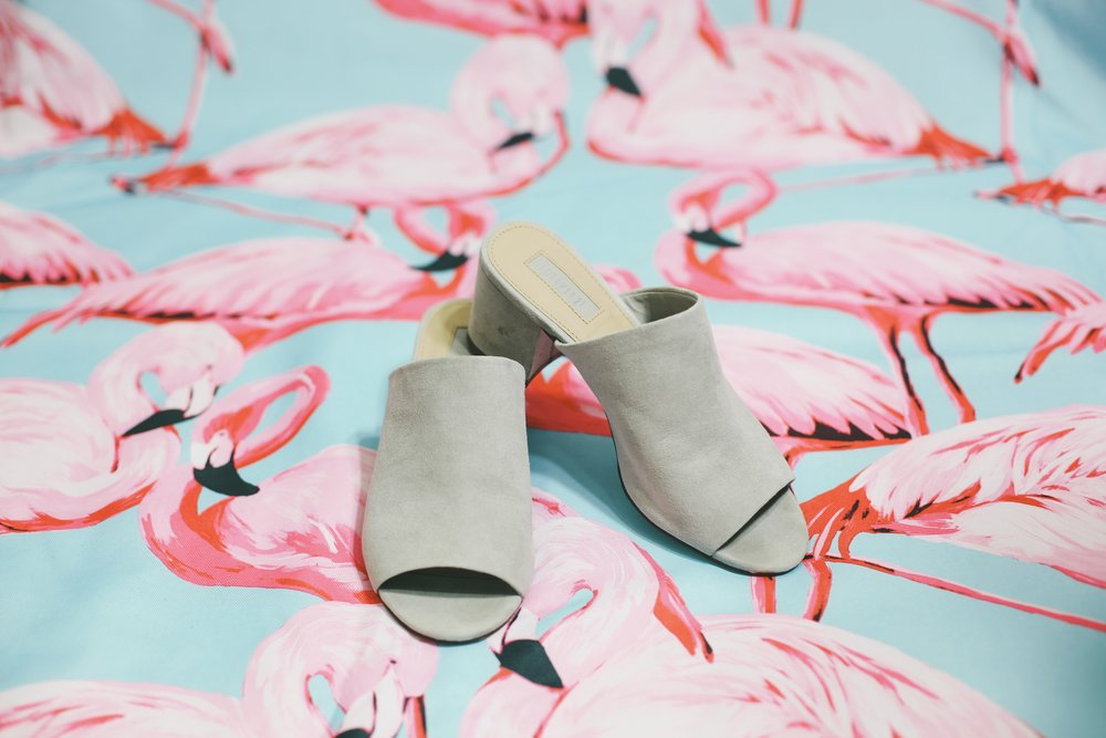 Forever 21 Faux Suede Mules in Grey