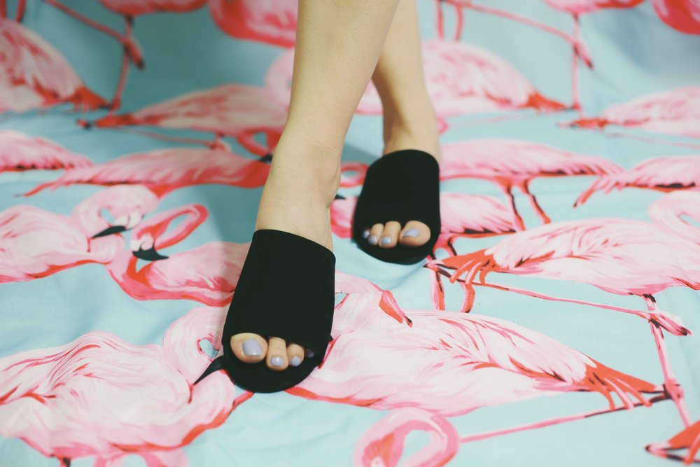 Forever 21 Faux Suede Slides in black