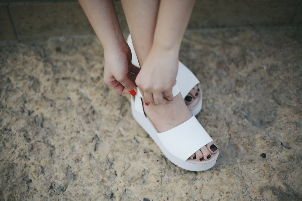 Asos platform sandals in white