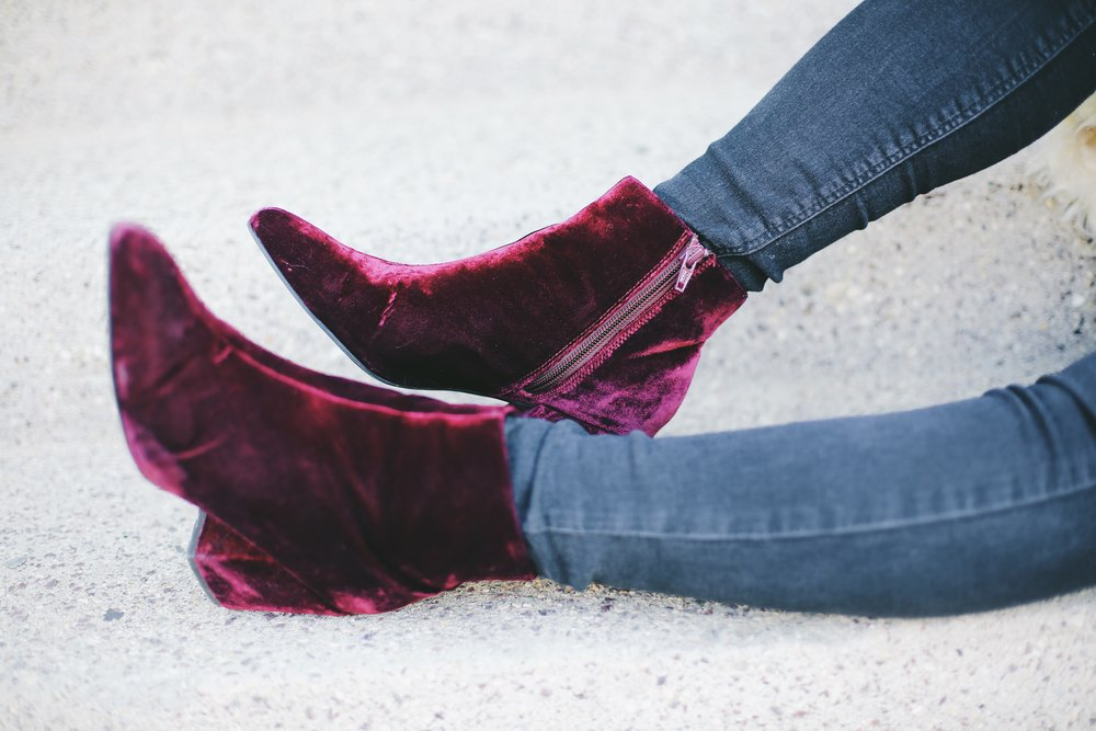 Asos Radio Star Pointed Velvet Ankle Boots