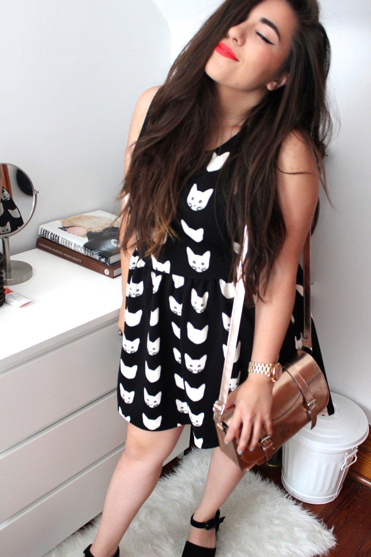 H&M cat print dress
