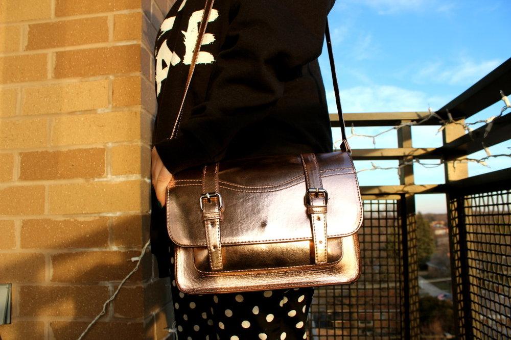 metallic gold cambridge satchel