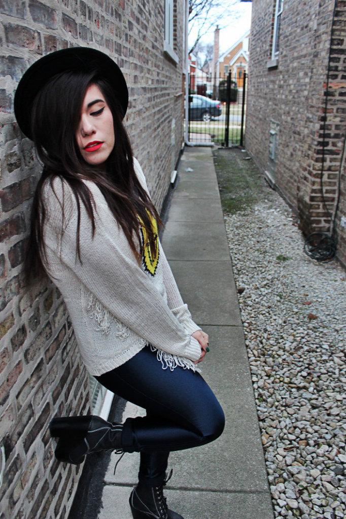 unif evil face fringe sweater