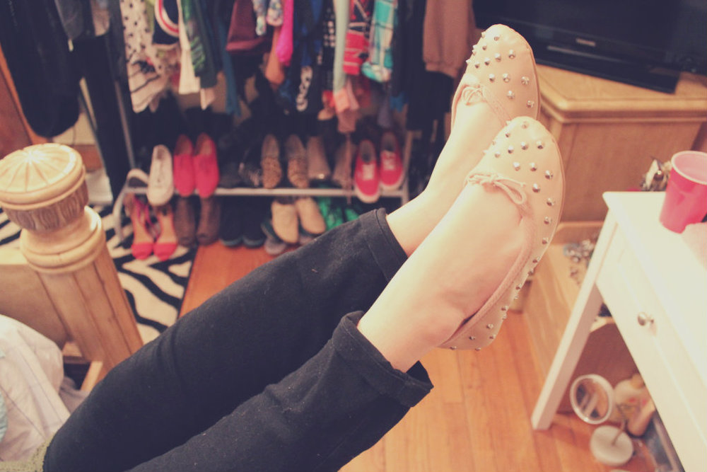 Pink studded ballet flats by Topshop