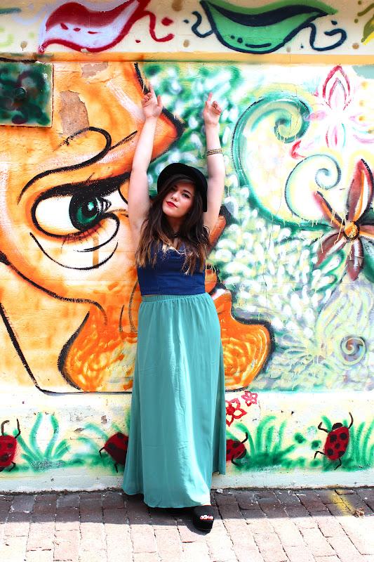 denim bustier and maxi skirt