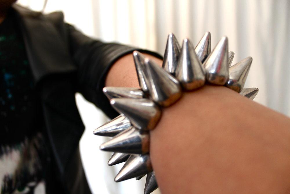 silver spiked bracelet