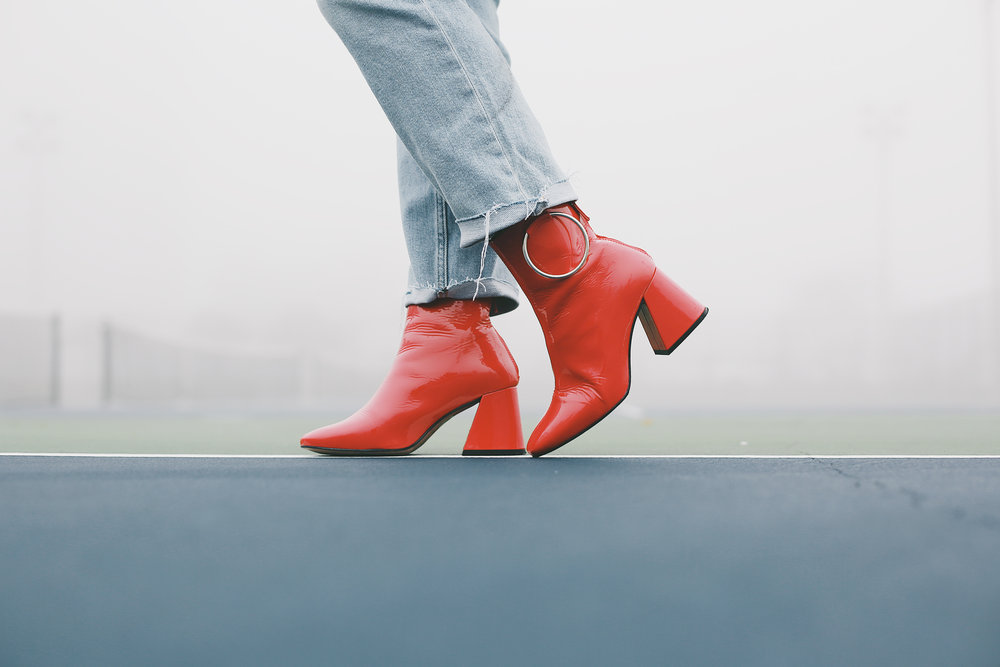 topshop red boots