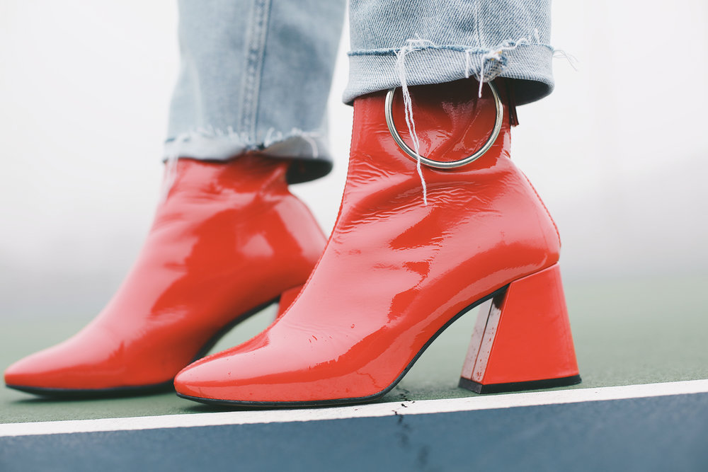 topshop red boots with silver hoop detail