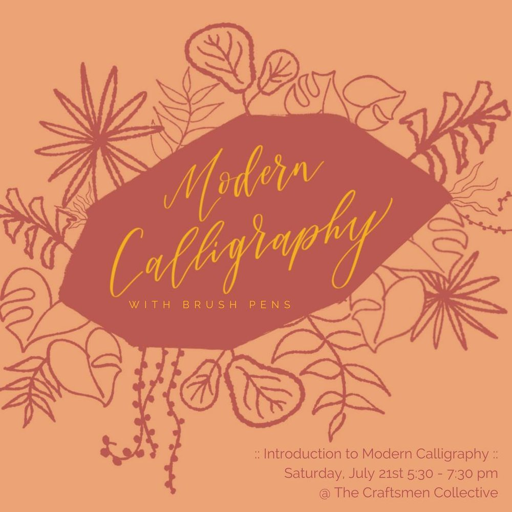 Join Kendra Dosenbach of CurlyQuirk Art+Craft for a fun Saturday afternoon modern calligraphy workshop at The Craftsmen Collective. ✨〰️✍🏽  You will learn the fundamentals of writing beautifully with brush pens - pens whose tips behave like paintbrushes that can achieve the thin and thick lines that combine to create gorgeous letters and words.   You *do not* have to have good handwriting to excel in modern calligraphy! All you need is a growth mindset and the desire to have fun trying something new in the company of friends.  You'll go home with awesome practice materials made just for you by Kendra as well as two brush pens. And cookies from BigBite Bakeshop will be on hand to fuel your creativity!  Cost: $50. Get 10% off if you buy 2 or more spots and enter the code FRIENDS at checkout.   Register at  https://www.etsy.com/CurlyQuirk/listing/612079192/introduction-to-modern-calligraphy-with?utm_source=Copy&utm_medium=ListingManager&utm_campaign=Share&utm_term=so.lmsm&share_time=1531622971167