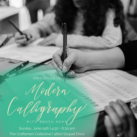 If you took Kendra's Introduction to Modern Calligraphy workshop, or you've been practicing for a while on your own, this workshop is for you! You'll build on the fundamentals by learning to connect letters and develop your own unique style.  You'll go home with intermediate level practice materials and your very own composition of an inspirational quote.  And delicious cookies from BigBite Bakeshop will be on hand to fuel your creativity!