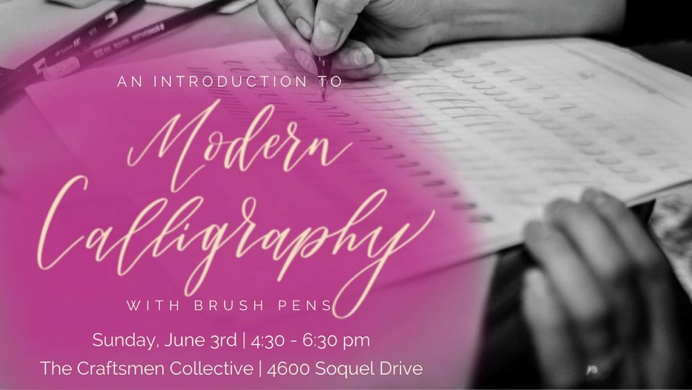 Join Kendra Dosenbach of CurlyQuirk Art+Craft for a fun Sunday afternoon modern calligraphy workshop at The Craftsmen Collective (a 🌿 plant-filled 🌿 bohemian oasis in Soquel Village voted Santa Cruz's best new artist collective!).   You will learn the fundamentals of writing beautifully with brush pens - pens whose tips behave like paintbrushes that can achieve the thin and thick lines that combine to create gorgeous letters and words. ✨〰ï¸�âœ�ðŸ�½  You *do not* have to have good handwriting to excel in modern calligraphy! All you need is a growth mindset and the desire to have fun trying something new in the company of friends.  You'll go home with awesome practice materials made just for you by Kendra as well as two brush pens. And delicious ðŸ�ª cookies ðŸ�ª from BigBite Bakeshop will be on hand to fuel your creativity!  Cost: $50 // Get 10% off when you purchase two or more spots and use the coupon code FRIENDS at checkout. 🙌ðŸ�½  Register at  www.curlyquirk.etsy.com.
