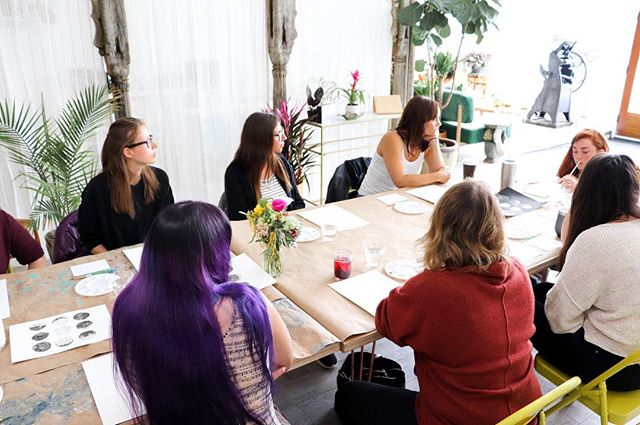 """We believe in making    Last weekend at All Hands was so vibrant and full. We saw the return of our treasured teachers, Joan P Bogart @art_by_joanpbogart,Yeun Byun @soapsof7flowers and Kate Shriner @kateshrine, for block printing and soap making and watercolor moons, respectively. And we welcomed Ashley Cunningham @aeletterpress for her first Intro to Letterpress workshop at the studio.  One thing that never gets old is overhearing people's audible surprise and delight when theirs and others' creations come into being. """"Wow, that's amazing!"""" """"I love the colors you chose."""" """"Oh, that looks sooo goood!"""" 🥰  Of course, not everyone is pleased every time with their initial output, but they still enjoy the lessons they glean from the creative process, and are ultimately *impressed*. Impressed with what they and their counterparts made. Impressed with their own courage to create. Impressed with the restorative power of making by hand. """"That was so therapuetic. I didn't realize..."""" The energy people generate while making together is so life-giving and I hope you get to come in and experience it with us again soon.  #buildcreativecapacity #create #creativity #creative #creativecapacity #bayarea #bayareaworkshops #santacruz #santacruzmakers #madeinsantacruz #madebyher #blockprinting #botanical #botanicalblockprinting #letterpress #watercolor #watercolormoons #soap #soapmaking #naturalsoap"""