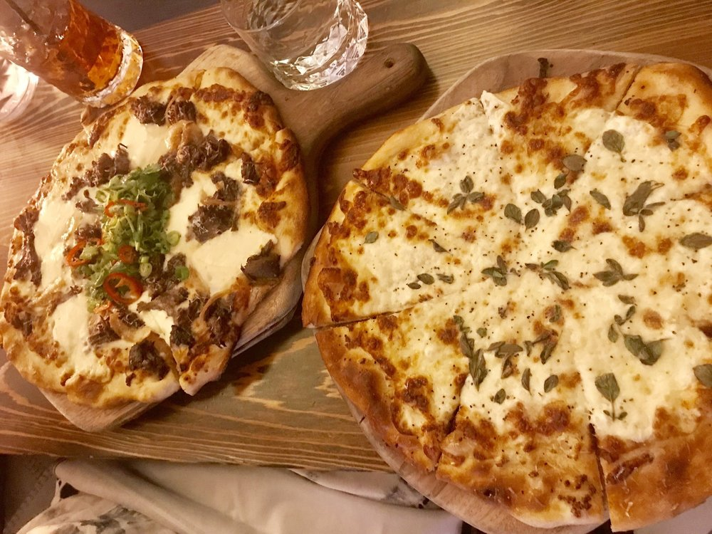 BBQ Short Rib Pizza & White Pizza at Cannon & Belle