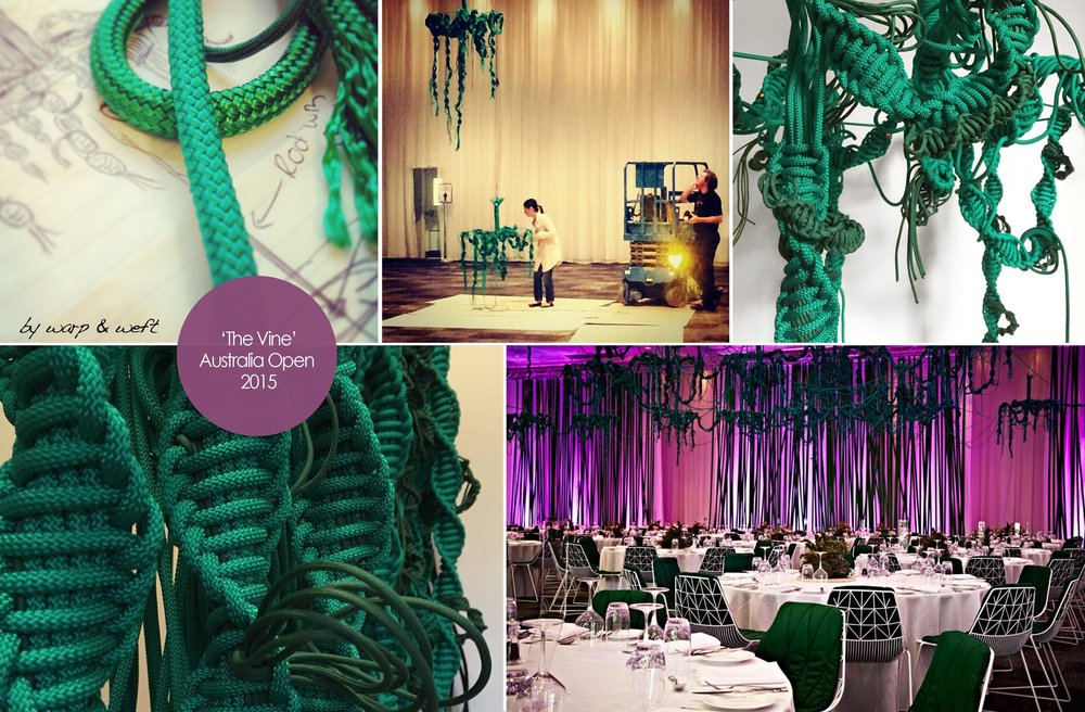 Commissioned works for Australian Open 2015  The project was to design and create a range of hanging 'Vine' using a series of Macrame knots. The project vision was lead by Chard International who I worked closely with in taking this idea from concept into reality. Creating a room into a 'Interior space' is what I love. This space become a wonderland garden of hanging vines that drape, connect and twist, much like the natural characteristic of a vine