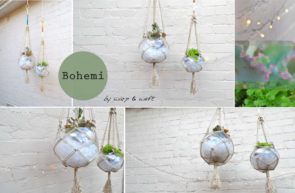 This macramé plant hanger is made from natural jute locally sourced and features a series of accented coloured threads for that more modern look.Its a beautiful piece for an interior space... - Comes in 2 sizes. Small (Right) and Large (Left)- Each pieces come with glass sphere bowl