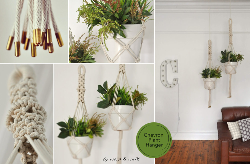 This new macramé planter collection was designed to create a feeling of pureness, modernity and calm in one's space. The tube like compact design at the top uses an 'Alternative Knot' technique combined with half hitch knot in the centre as a feature element. This feature has the option of making the tub smaller or taller to suite a range of ceiling heights.  Finishing details of vintage brass beads used in the cords arms and tassel ends adds a beautiful contrast touch to modern edgy design.  One of the purest and precious of nature's resources, cotton is becoming more widely used in Home interiors. The main feature of this piece is the use of cotton sash cord. Cottons fibres characteristics are strong, comfortable, absorbent and a cosy decor touch for winter.  Comes in two sizes - Small (120cm H x 30cm W) & Large (135cm H x 30cm W) Comes with White terracotta pot (can come without pot. Please contact for this options)