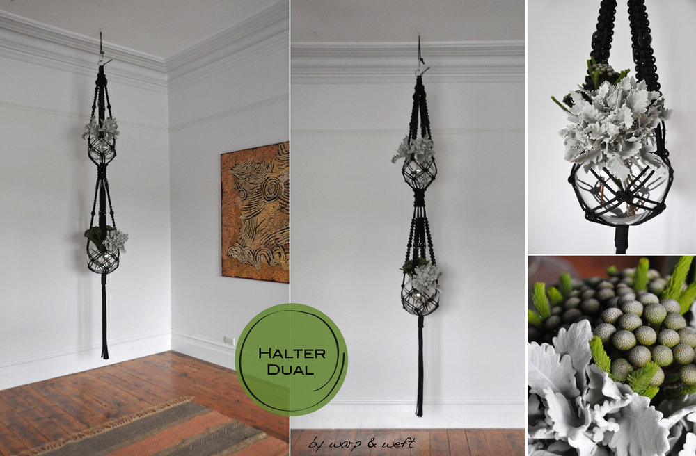 If you are looking to fill a corner space with tall ceilings, then this exquisite piece will look amazing . It is a dual macrame plant hanger. Meaning you can place two lots of foliage (top and bottom) It creates a extremely beautiful and delicate feeling with the arrange of foliage yet a bold look in it's design. It's finishes with a long draping tassel.