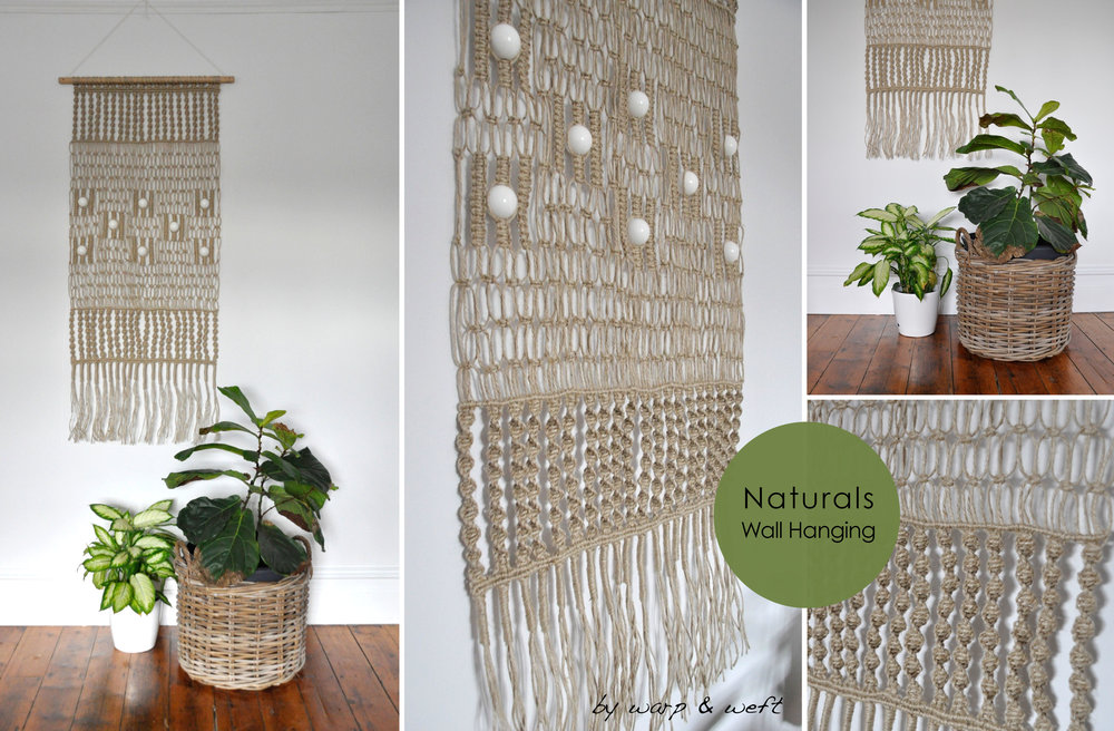 Classic 70's Macrame made modern. Reinventing the retro version of the past with a modern fresh twist. This piece was design using a range a traditional Macrame knots. Each piece is hand made and designed from scratch. Not one piece is a like which makes the product more bespoke, a one off. This style comes in a 'Natural Jute' for a more earthy style interior.Each piece is made to order. Please allow 3 weeks for deliver